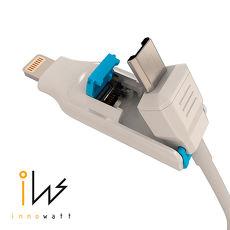 【 innowatt 】MFi 蘋果認證 iPhone 6s / iPhone 6s Plus 變形金剛 Lightning & Micro USB 二合一 傳輸線 充電線