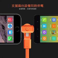 《二合一旋轉充電線》Apple Lightning 8Pin & Micro 二合一 360度旋轉充電扁線