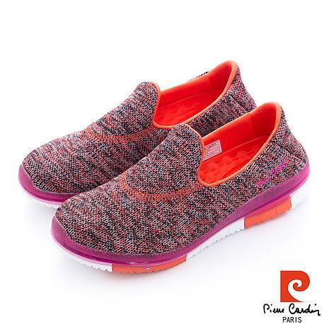Pierre Cardin(女) - KNIT編織透氣 琴鍵大底直套輕量運動鞋 - 桔裡桔